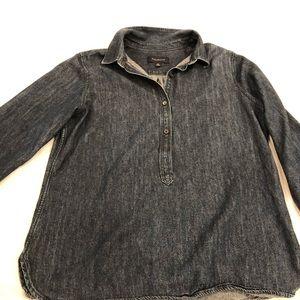 Talbots denim popover 3/4 sleeve shirt size medium